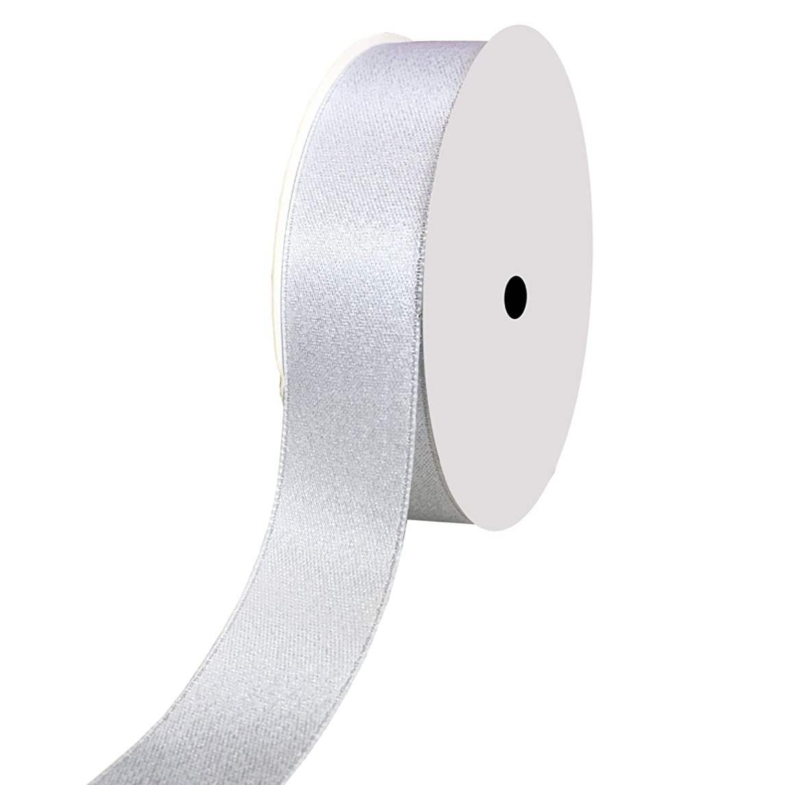 DUOQU 5/8 inch Wide Sparkle Satin Ribbon with Silver Glitter 20 Yards Roll