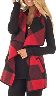 Womens Vest Plaid Sleeveless Lapel Open Front Cardigan Sherpa Jacket with Pockets