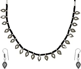 Yellow Chimes by Yellow Chimes Choker Necklace for Women (Oxidized Silver,black) (YCTJNS-24OXDTHRD-BK)