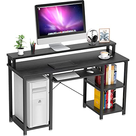 """NOBLEWELL Computer Desk with Monitor Stand Storage Shelves Keyboard Tray,47"""" Studying Writing Table for Home Office (Black)"""