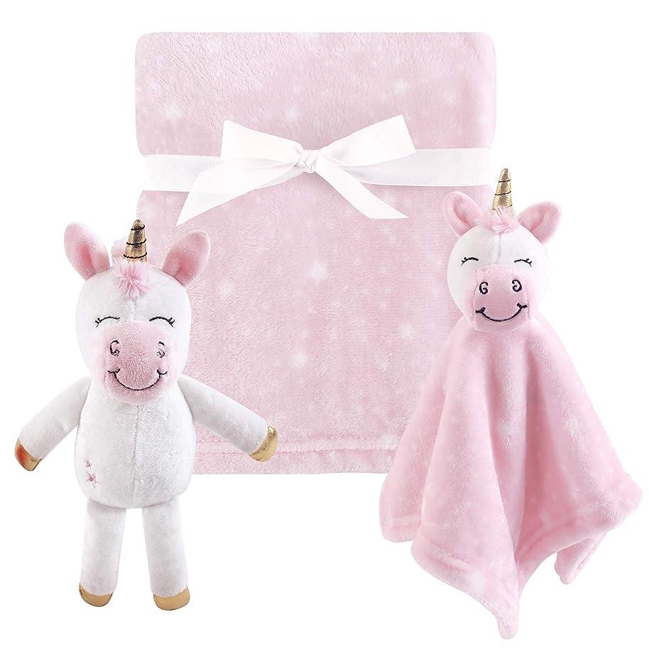 Hudson Baby 3 Piece Plush Toy Blanket Set, Pink Unicorn, One Size