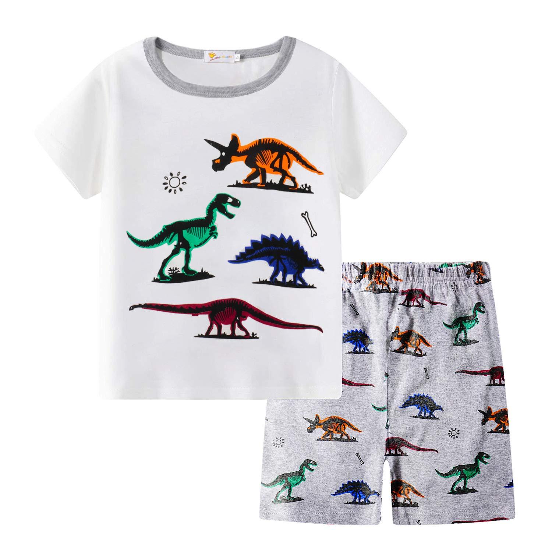 Little Boys Short Set Pajamas for Boys 100/% Cotton Toddler Train Dinosaur Sleepwear Summer Clothes Size 2-7T