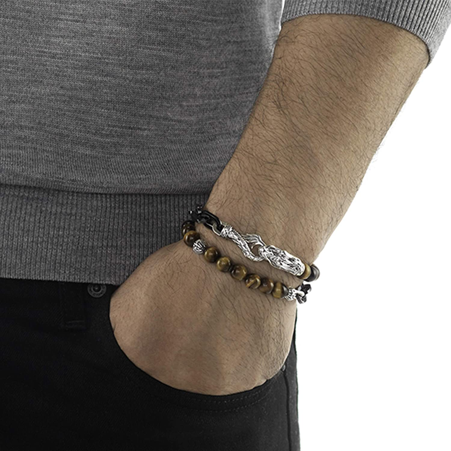 Tiger Iron Bracelet or Anklet All Natural Tiger Iron Free Form      B001 3.3 mm Gold Filled Figure 8 Chain With Hook Clasp