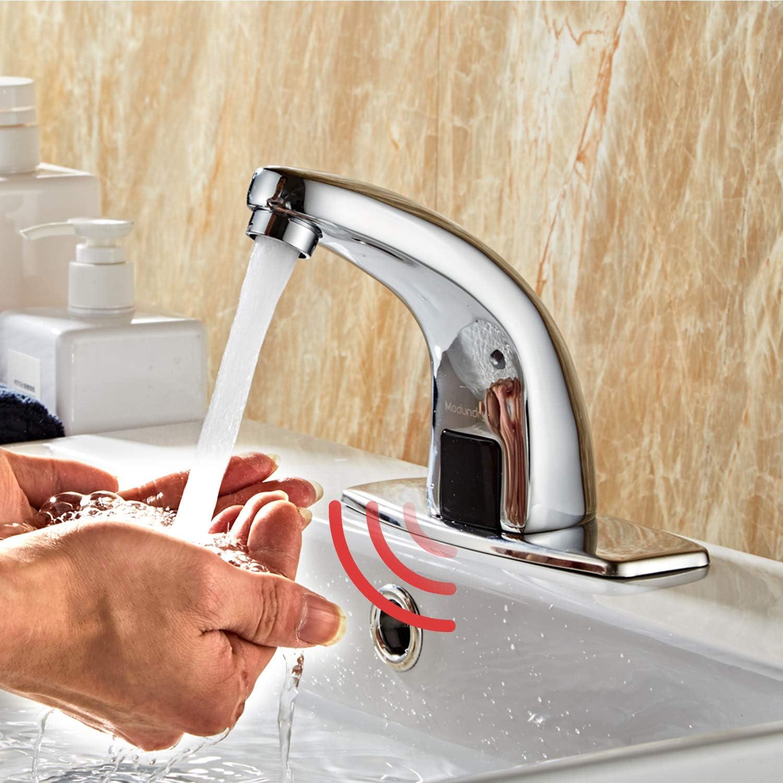 Modundry Grifo Automático Sin-contacto con Sensor Infrarrojo de Lavabo Baño Cocina Grifo Agua para Hogar y Comercial