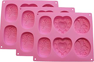 Assorted Silicone Soap Molds - 6 Cavity - FDA approved BPA Free 100% Silicone Non-Toxic Soap Molds Bath Bomb Mold Safe for Baking Professional Quality Non-Stick Easy to Clean Silicone Bakeware