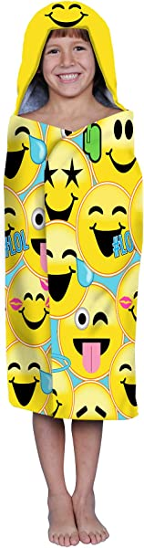 Franco Kids Bath And Beach Soft Cotton Hooded Towel Wrap 24 X 50 Emojination Yellow