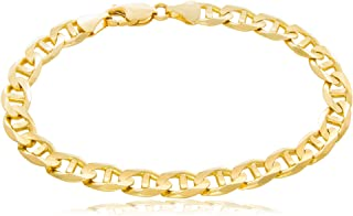 """Solid Gold 14K Mariner Link Chain Bracelet 14K Yellow Gold 7mm Wide (Lengths 7-1/2 to 8-1/2"""")"""