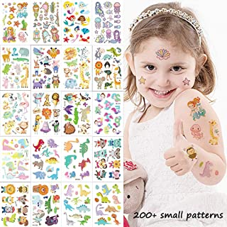 Small Temporary Tattoos for Kids 20 Sheets Fake Tattoo Stickers with 200+ Cute Zoo Animal Patterns of Dinosaur Mermaid Dog Cat Lion Bird Elephant for Girls & Boys Body Art Decorations Party Supplies