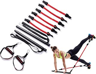 Portable Pilates Bar Kit,Assemble Pilates Bar System with Adjustable Belt and Handle Home Gym Pilates Bar System Full Body...