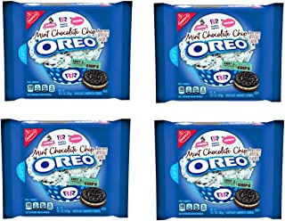 Oreo Baskin Robbins Mint Chocolate Chip Cookies - Pack of 4 Bags - Limited Edition Flavor - Mint and Chocolate Flavor Cremes with Chocolate Chips