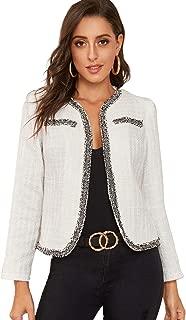 Verdusa Women's Open Front Pearls Beaded Plaid Tweed Jacket