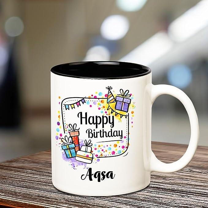 Huppme Happy Birthday Aqsa Inner Black Coffee Name Mug