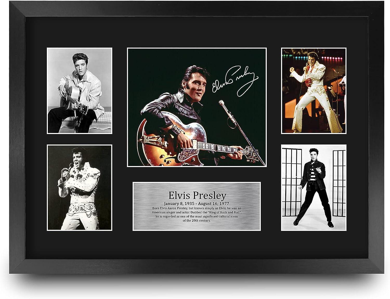HWC Trading FR A3 Elvis Presley Musician The King Los Regalos Imprimieron La Imagen Firmada del Autógrafo para Los Fans De Los Recuerdos De La Música - A3 Framed
