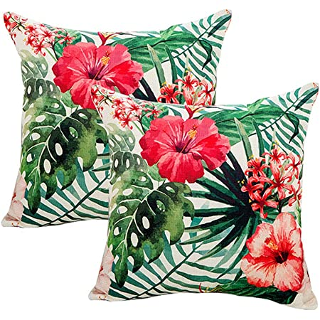 7colorroom 2pack flower throw pillow covers tropical leaves home decorative throw pillow covers 18 18 cushion covers for patio sofa couch red