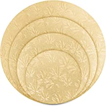 UPKOCH Reusable Cake Cardboards Round Cake Boards with Cake Scraper for Cake Decoration Wedding Birthday Celebration Party Cake Tray Serving Base 4pcs (Gold)