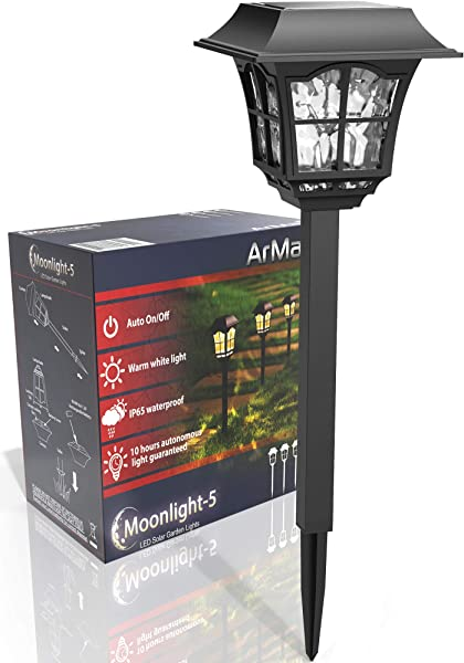ArMax Solar Pathway In Ground Decoration Lights Outdoor For Garden Driveway Walkway Sidewalk Yard Lawn Path Landscape Lighting Warm White LED Light Up To 25HR 4 Pack Set Waterproof