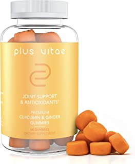 Plus Vitae Turmeric Gummies with Immunity Boost- Organic Curcumin & Ginger Gummies - Vegan, Non-GMO, Gummy Supplement for Joint Support - 60 Count