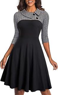HOMEYEE Vestido de Negocios de Costura de Solapa Color Patchwork de la Mujer A121