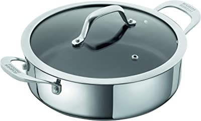 KUHN RIKON Allround Non-Stick Serving Pan with Glass Lid, Stainless Steel