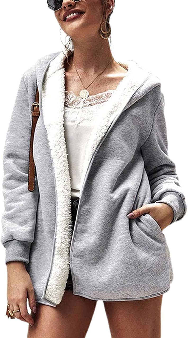 PUWEI Women's Oversized Faux Fur Fleece Lined Hooded Jacket Coat Cardigan