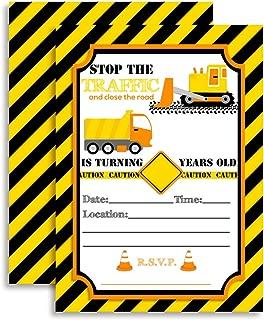 Construction Digger Dump Truck Birthday Party Invitations, 20 5