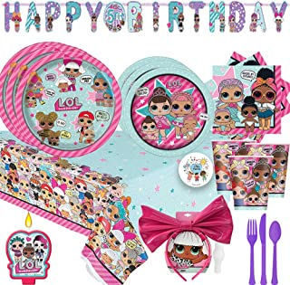 LOL Surprise Birthday Party Supplies Pack For 16 With Dinner and Dessert Plates, Napkins, Cups, Plastic Tablecover, Banner, Candle, Cutlery, LOL Character Snow Angel Headband, and Exclusive Pin