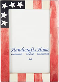 USA American Flag Picture Photo Frame Souvenirs Handmade Naturals Bone Frames for Photo Size 4X6 Inches – Thanksgiving Gifts