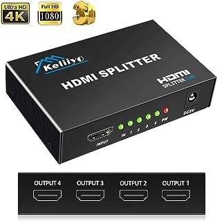 HDMI分配器 KELIIYO HDMIスプリッター 4出力 分配器 同時出力 4K/3D対応 HDTV/Xbox/PS4/DVDプレーヤー対応