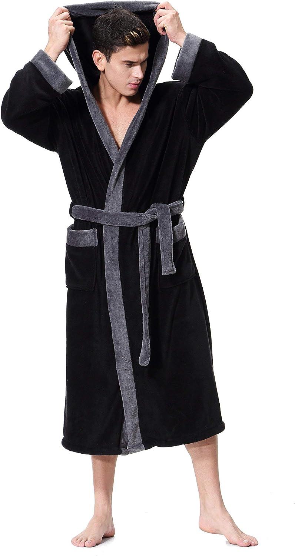 Men's Hooded Bathrobe in 2 Colored Soft Spa Kimono Shawl Collar Hooded Long Robe Unisex