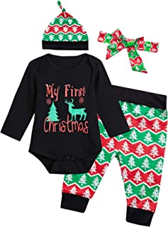 Baby Girls My First Christmas Outfit Set Long Sleeve Bodysuit