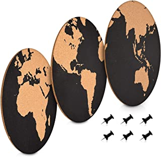 Navaris Cork Memo Board Set - 3X Pieces Round Decorative Cork Boards in Different World Map Designs with Push Pins for Kitchen, Home, Office, Bedroom