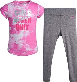 Reebok Girls' Activewear Set - Short Sleeve Performance T-Shirt and Full Length Leggings Kids Clothing Set (2 Piece)