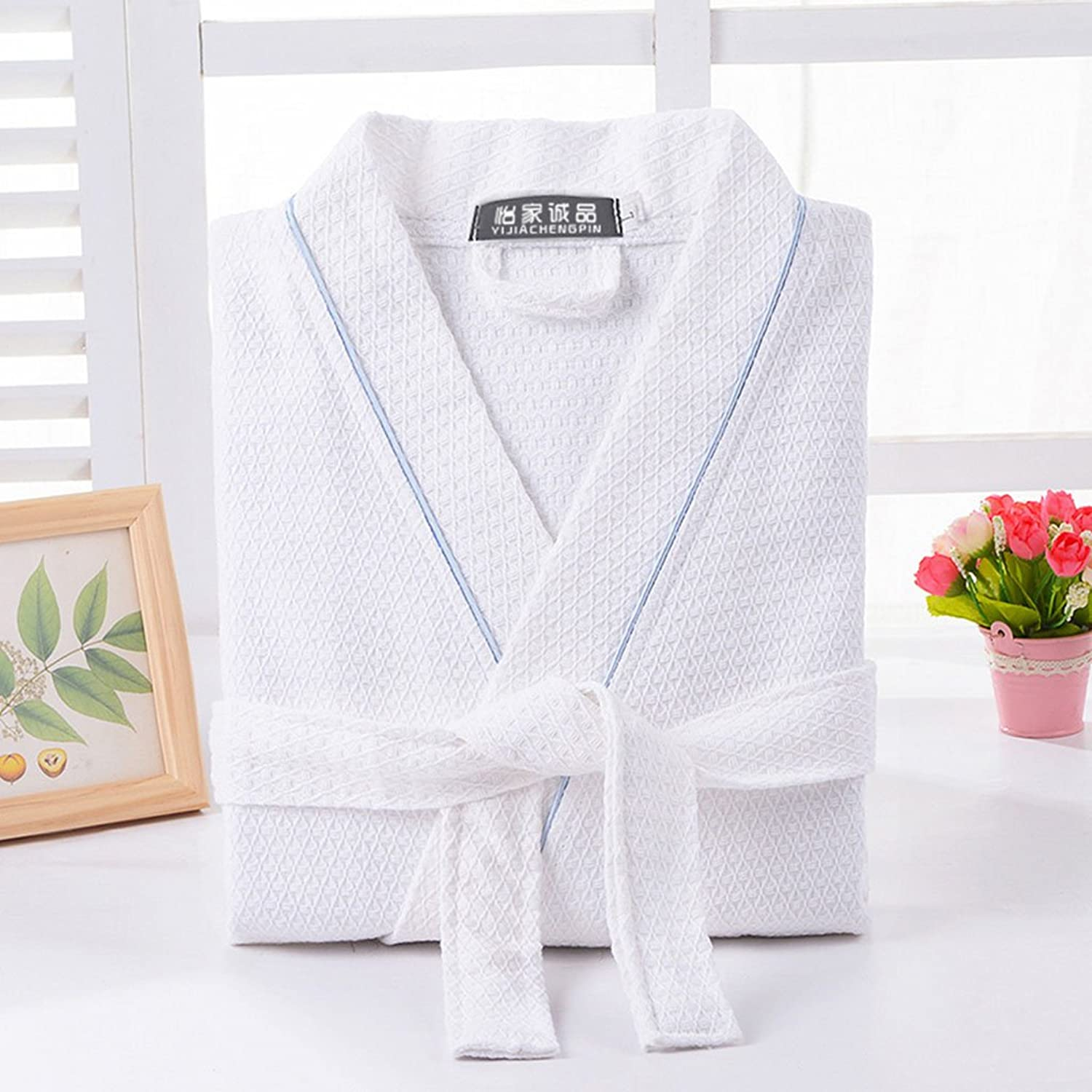 GJM Shop 100% Cotton Thin Section LongSleeved Kimono Collar Bathrobe Men and Women Summer Cotton Hotel Water Absorption Nightgown (color   2, Size   L)