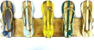 Hand Carved FLIP FLOP towels beach Hanger Holder Surfboard Wooden Wall Hanging Art Sign Tiki Bar