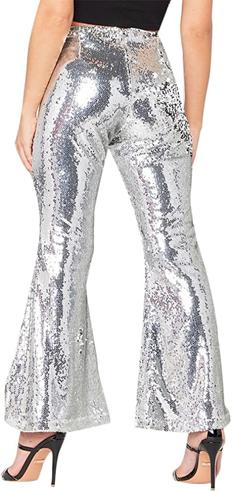 MS Mouse Womens Glitter Sequin High Waisted Stretchy Bell Bottom Flared Pants