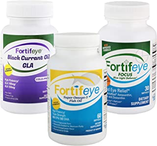 Fortifeye Vitamins Advanced Dry Eye Therapy - Super Omega 3 Fish Oil, Focus Eye Care Supplement and Black Currant Oil GLA - 30 Day Supply - Softgel Capsules