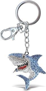 Aqua79 Shark Keychain - Silver 3D Sparkling Charm Rhinestones Fashionable Stylish Metal Alloy Durable Key Ring Bling Cryst...