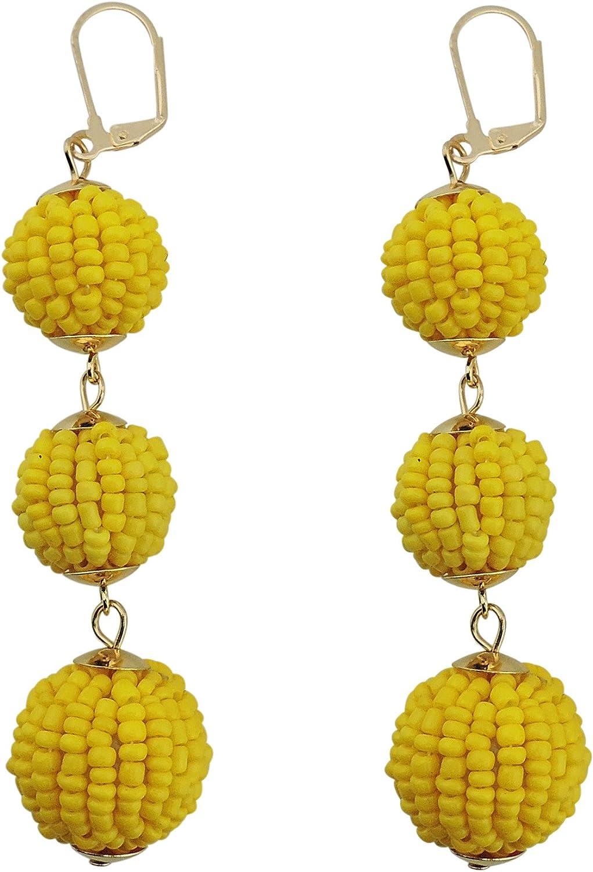 Coiris Fashion Handmade Ball Beaded Dangle Earrings Drop Earrings for Women