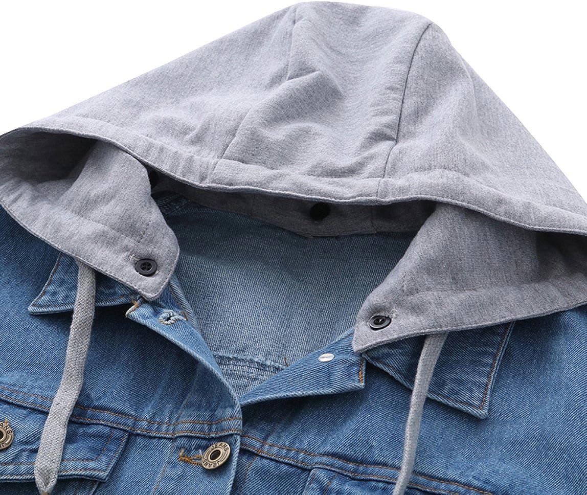 Denim Jackets Trendy XU Women Boyfriend Style Hoodie Loose Jean Windproof Coat