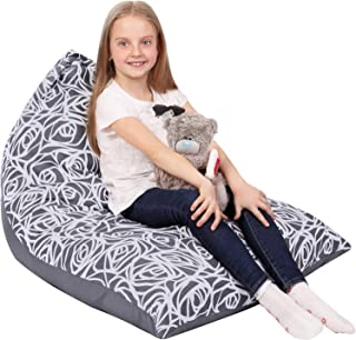 5 STARS UNITED Stuffed Animal Storage Bean Bag - Cover Only - Large Triangle Beanbag Chair for Kids - 180+ Plush Toys Holder - Floor Pillows Organizer for Girls - 100% Cotton Canvas - Gray Roses