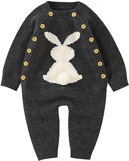 الوليد طفلة بوي القطن حك الأرنب طويل الأكمام سترة رومبير بذلة (Color : Gray, Size : 12M)