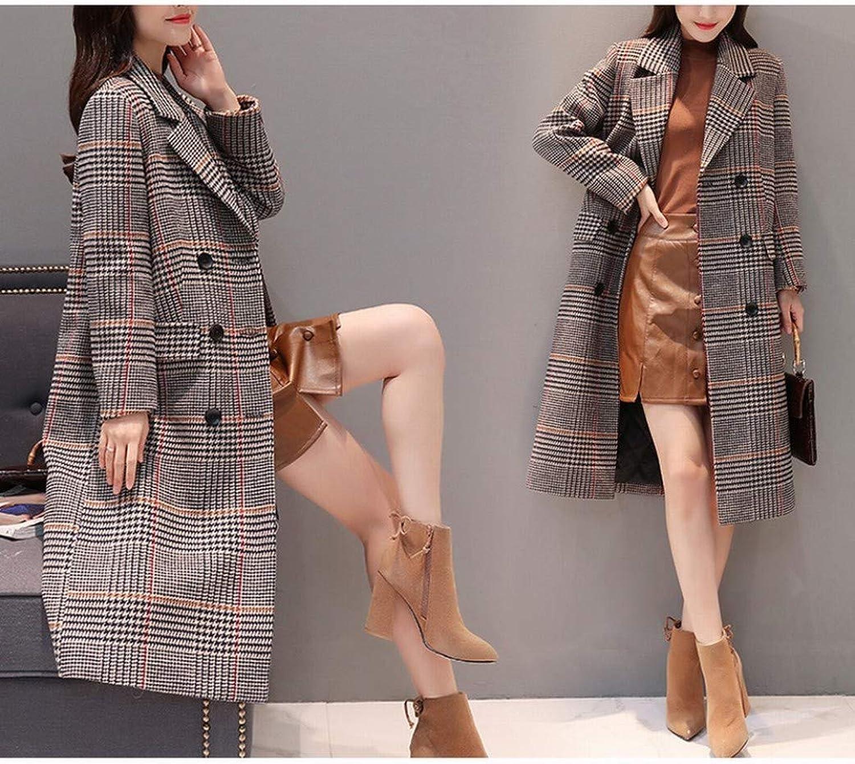 Coat Jacket, Woolen Coat, Woolen Coat, Female Thick LongLength OverTheKnee Winter Plaid Plus Cotton Woolen Coat PLLP