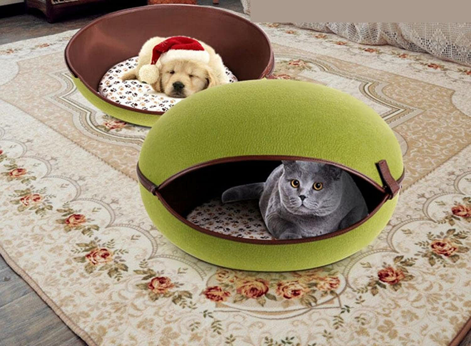 Pet bed Pet Cave Dog Puppy Cat Kennel House Bed,Nature Egg Shape Cozy PC50003 , green