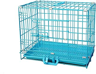 PSK Double Door Folding Metal Dog Cage with Removable Tray for Dogs/Rabbit Blue-30 Inch Medium