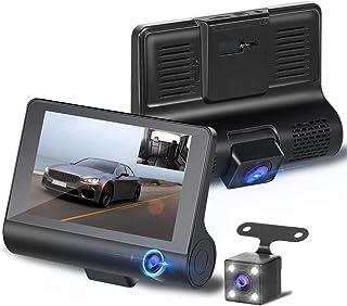 【2019最新版 3カメラ搭載 】ドライブレコーダー 前後カメラ 車載カメラ 車内外同時録画 リアカメラ付き 4.0インチ画面 駐車監視 1080PフルHD 170°広視野角 常時録画 G-sensor WDR搭載【32GB SDカード付き 】
