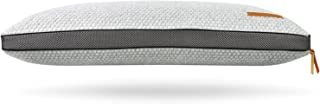 Urban Bloom Domus Pillow Designed in Cooling Supportive Memory Foam with Premium Removable Lux-Loft Cover — Elegant Gray with Leather Trim — The Domus Collection