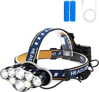 Rechargeable Headlamp, Foxdott 8 LED Headlamp Flashlight with White Red Lights,8 Modes USB Rechargeable Waterproof Head La...