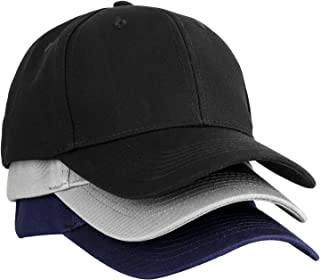 3PCS Plain Structured Baseball Cap, Cotton Dad Hat Fits Men Women, Adjustable Low Profile