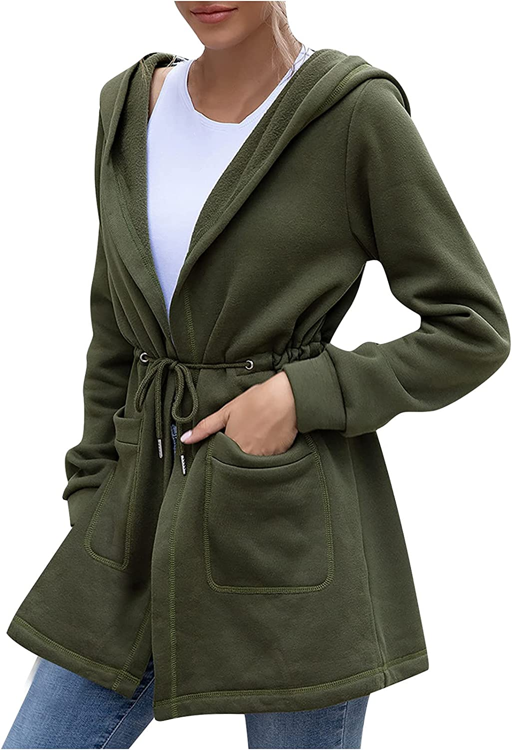 MEIbibibi Women Solid Fuzzy Outerwear Drawstring Waisted Slim Coat Casual Comfy Hooded Pockets Anoraks