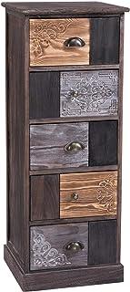 IDIMEX Chiffonnier Mara avec 5 tiroirs, Commode en Bois de Paulownia Style Vintage Ethnique bohême avec gravures